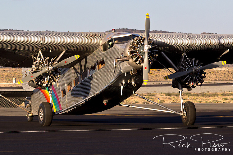 Ford Trimotor ready for flight. N414H was used for 65 years as a sightseeing aircraft flying over the Grand Canyon.
