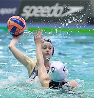 PICTURE BY CHRIS MANGNALL/SWPIX.COM - Water Polo - British Water Polo Championships 2012 - Women's Final, Manchester v London Otters - Manchester Aquatics Centre, Manchester, England - 19/02/12 - Manchester's Emma Bartlett (W) v London Otters Alexis Higlett (B).