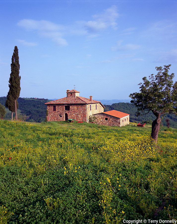 Tuscany, Italy      <br /> Stone farm house among the rolling hills and valley of Val d'Orcia neard the hilltown of Contignano