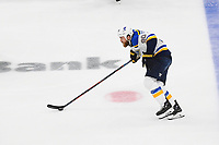 June 12, 2019: St. Louis Blues center Ryan O'Reilly (90) races with the puck during game 7 of the NHL Stanley Cup Finals between the St Louis Blues and the Boston Bruins held at TD Garden, in Boston, Mass.  The Saint Louis Blues defeat the Boston Bruins 4-1 in game 7 to win the 2019 Stanley Cup Championship.  Eric Canha/CSM.