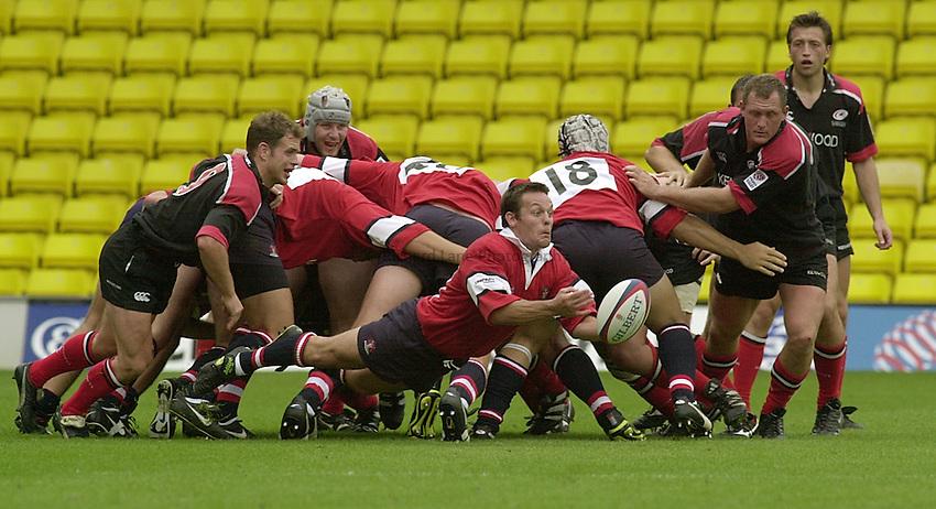 Photo:Ken Brown.20.8.2000 Saracens v Gloucester.Ian Sanders