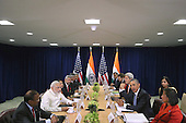 Prime Minister Narendra Modi of India (2nd L) and United States President Barack Obama (3rd R) deliver remarks to the news media after holding a bilateral meeting with their foreign policy teams at the United Nations headquarters September 28, 2015 in New York City. Modi and Obama are in New York City to attend the 70th anniversary general assembly meetings.<br /> Credit: Chip Somodevilla / Pool via CNP