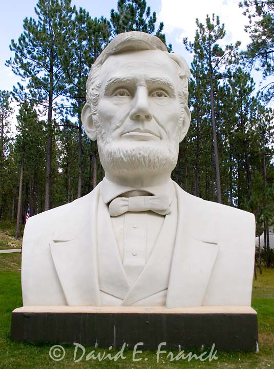 Abraham Lincoln bust by sculptor David Adickes at Presidents Park in Lead South Dakota