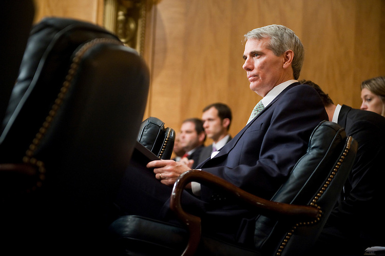 "UNITED STATES - JUNE 23:  Sen. Rob Portman, R-Ohio, attends a Senate Homeland Security and Governmental Affairs Committee hearing in Dirksen Building entitled ""Federal Regulation: A Review of Legislative Proposals.""  (Photo By Tom Williams/Roll Call)"