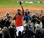 (Boston, MA, 10/10/16) Boston Red Sox designated hitter David Ortiz says good-bye to Red Sox Nation after the Cleveland Indians beat the Boston Red Sox 4-3 to compete the series sweep of of baseball's American League Division Series at Fenway Park in Boston on Monday, October 10, 2016. Photo by Christopher Evans