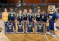 Florida International University women's volleyball players were honored on senior night after the game against Florida Gulf Coast University.  FIU won the match 3-0 on November 8, 2011 at Miami, Florida. .