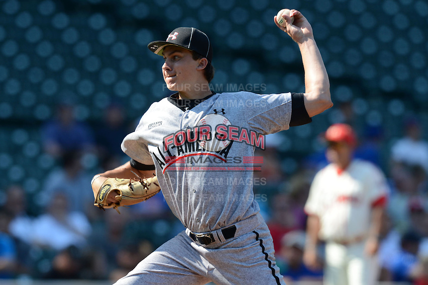 Pitcher Carson Sands (11) of Florida Christian School in Tallahassee, Florida during the Under Armour All-American Game on August 24, 2013 at Wrigley Field in Chicago, Illinois.  (Mike Janes/Four Seam Images)
