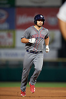 Lehigh Valley IronPigs third baseman Damek Tomscha (47) runs the bases during a game against the Rochester Red Wings on June 30, 2018 at Frontier Field in Rochester, New York.  Lehigh Valley defeated Rochester 6-2.  (Mike Janes/Four Seam Images)