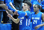 February 20, 2016 - Colorado Springs, Colorado, U.S. -   Air Force Falcons, Hayden Graham #35, and Dezmond James #24, celebrate a Mountain West Conference victory following an NCAA basketball game between the University of New Mexico Lobos and the Air Force Academy Falcons at Clune Arena, United States Air Force Academy, Colorado Springs, Colorado.  Air Force defeats New Mexico 76-72.