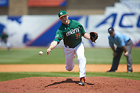 Miami Hurricanes relief pitcher Cooper Hammond (39) delivers a pitch to the plate against the Wake Forest Demon Deacons in Game Nine of the 2017 ACC Baseball Championship at Louisville Slugger Field on May 26, 2017 in Louisville, Kentucky. The Hurricanes defeated the Demon Deacons 5-2. (Brian Westerholt/Four Seam Images)