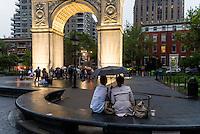 New York, NY 16 May 2015 - A rainy evening in Washington Square Park