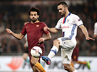 Football Soccer: Europa League Round of 16 second leg, Roma-Lyon, stadio Olimpico, Roma, Italy, March 16,  2017. <br /> Lyon's Jérémy Morel (r) in action with Roma's Mohamed Salah (l) during the Europe League football soccer match between Roma and Lyon at the Olympique stadium, March 16,  2017. <br /> Despite losing 2-1, Lyon reach the quarter finals for 5-4 aggregate win.<br /> UPDATE IMAGES PRESS/Isabella Bonotto