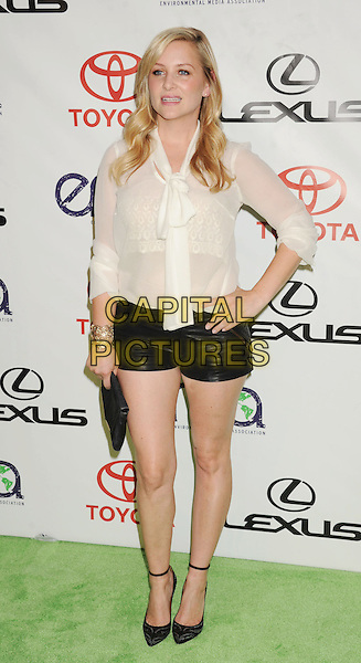 Jessica Capshaw.The 2012 Environmental Media Awards at Warner Bros. Studios in Burbank, California, USA..September 29th, 2012   .EMA EMAS full length blouse shirt pussy bow black shorts clutch bag shoes ankle strap hand on hip leather cream beige bow tied .CAP/ROT/TM.©Tony Michaels/Roth Stock/Capital Pictures
