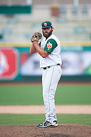 Fort Wayne TinCaps relief pitcher Nick Monroe (34) gets ready to deliver a pitch during the second game of a doubleheader against the Great Lakes Loons on May 11, 2016 at Parkview Field in Fort Wayne, Indiana.  Great Lakes defeated Fort Wayne 5-0.  (Mike Janes/Four Seam Images)