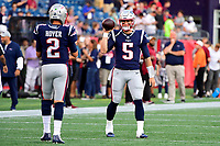 August 9, 2018: New England Patriots quarterback Danny Etling (5) warms up with quarterback Brian Hoyer (2) prior to the NFL pre-season football game between the Washington Redskins and the New England Patriots at Gillette Stadium, in Foxborough, Massachusetts.The Patriots defeat the Redskins 26-17. Eric Canha/CSM