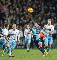 Sam Wood of Wycombe Wanderers during the The Checkatrade Trophy - EFL Trophy Semi Final match between Coventry City and Wycombe Wanderers at the Ricoh Arena, Coventry, England on 7 February 2017. Photo by Andy Rowland.