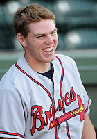 May 9, 2008: Freddie Freeman of the Rome Braves, Class A affiliate of the Atlanta Braves, prior to a game against the Greenville Drive at Fluor Field at the West End in Greenville, S.C. Photo by:  Tom Priddy/Four Seam Images
