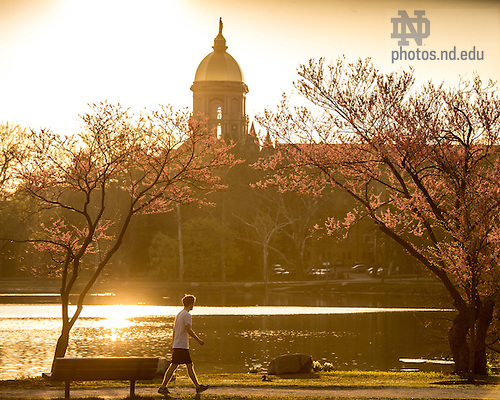 Apr. 24, 2016; Sunrise over St. Mary's Lake (Photo by Matt Cashore/University of Notre Dame)