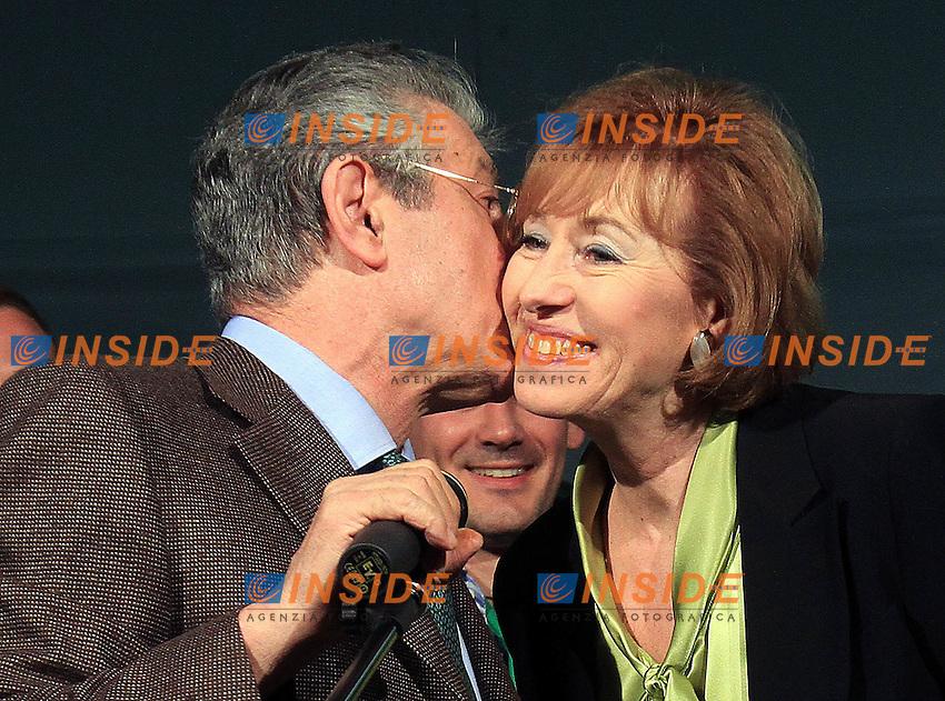 Umberto Bossi con Letizia Moratti durante la festa dei giovani padani..29/04/2011, Milano, Festa dei giovani padani..ALBERTO CAMICI / INSIDETOFOTO