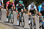 World Champion Alejandro Valverde (ESP) Movistar Team and race leader Red Jersey Primoz Roglic (SLO) Team Jumbo-Visma get caught behind in the 2nd group during Stage 17 of La Vuelta 2019  running 219.6km from Aranda de Duero to Guadalajara, Spain. 11th September 2019.<br /> Picture: Luis Angel Gomez/BettiniPhoto | Cyclefile<br /> <br /> All photos usage must carry mandatory copyright credit (© Cyclefile | Luis Angel Gomez/BettiniPhoto)