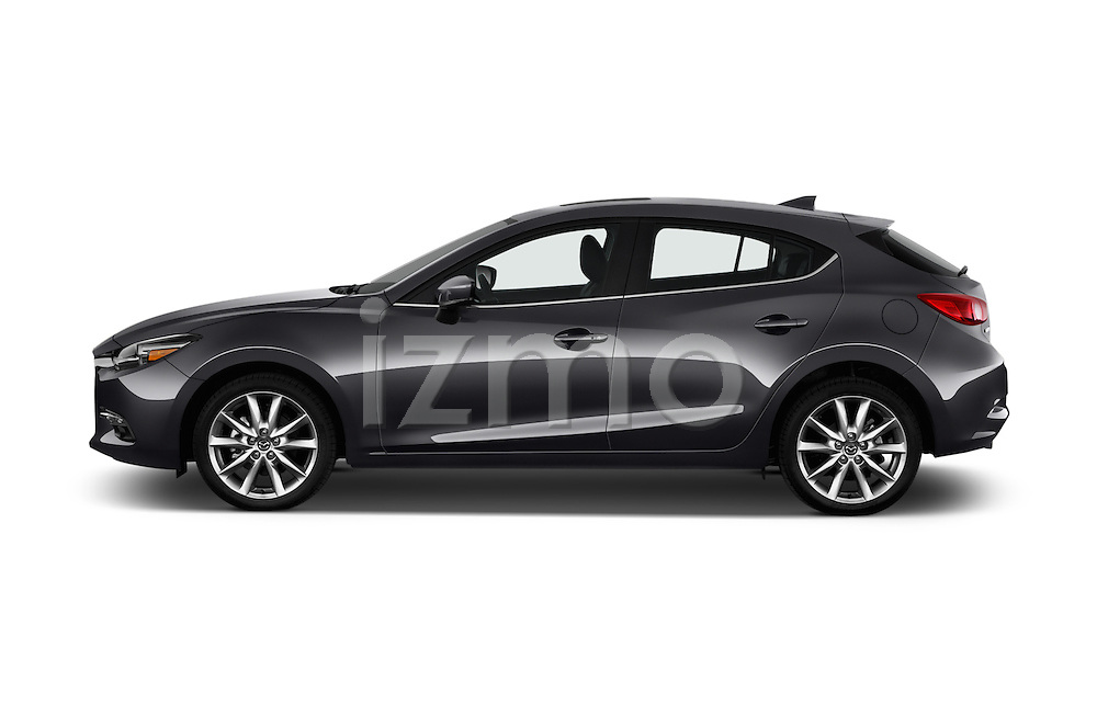 Car Driver side profile view of a 2018 Mazda Mazda3 Grand-Touring 5 Door Hatchback Side View