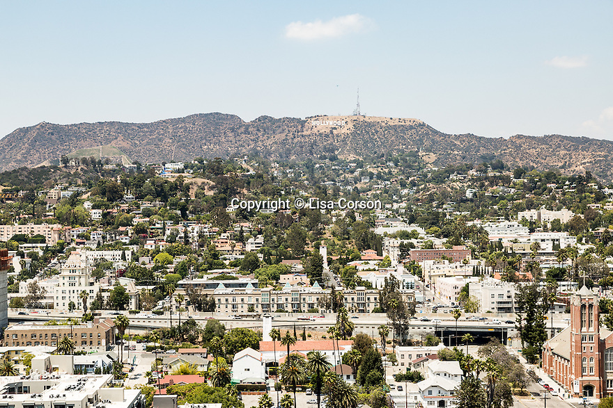 A view of the Hollywood sign from the rooftop at the Hollywood Proper Residences. Los Angeles, Calif. May 26, 2016.