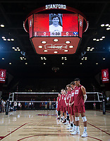 STANFORD, CA - March 2, 2019: Team at Maples Pavilion. The Stanford Cardinal defeated BYU 25-20, 25-20, 22-25, 25-21.