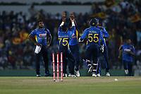 February 26th 2020, the Mahinda Rajapaksha International Stadium, Hambantota, Sri Lanka; One Day International cricket, Sri Lanka versus West Indies; Srilanka celebrate the wicket of Roston Chase