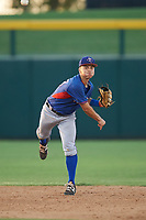 AZL Rangers shortstop Cody Freeman (33) throws to first base during an Arizona League game against the AZL Athletics Gold on July 15, 2019 at Hohokam Stadium in Mesa, Arizona. The AZL Athletics Gold defeated the AZL Rangers 9-8 in 11 innings. (Zachary Lucy/Four Seam Images)