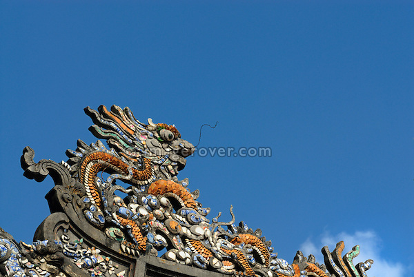 Asia, Vietnam, Hue. Decoration at the Hall of Supreme Harmony or Thai Hoa Palace. Designated a UNESCO World Heritage Site in 1993, Hue is honoured for its complex of historic monuments. The seat of the Nguyen emperors was in the Citadel, which occupies a large, walled area on the north side of the Perfume river. Inside the citadel was a forbidden city where only the concubines, emperors, and those close enough to them were granted access, the punishment for trespassing being death.