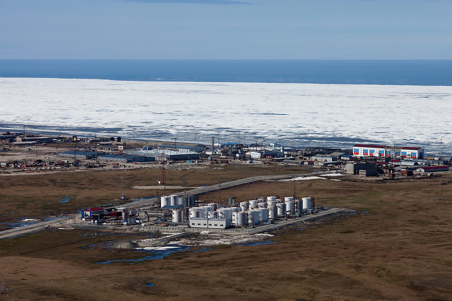 Kharsavey,Yamal Peninsula, Russia, 10/07/2010..New port under construction at Kharsavey for the Gazprom Yamal Bovanenkovo gasfield project. The Kara Sea in July is frozen for a distance of 7 to 10 kilometres offshore.