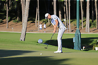 Haotong Li (CHN) putts on the 17th green during Saturday's Round 3 of the 2018 Turkish Airlines Open hosted by Regnum Carya Golf &amp; Spa Resort, Antalya, Turkey. 3rd November 2018.<br /> Picture: Eoin Clarke | Golffile<br /> <br /> <br /> All photos usage must carry mandatory copyright credit (&copy; Golffile | Eoin Clarke)