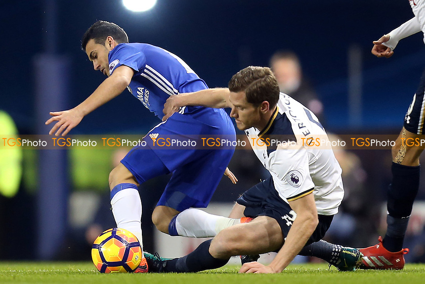Pedro of Chelsea and Jan Vertonghen of Tottenham Hotspur during Tottenham Hotspur vs Chelsea, Premier League Football at White Hart Lane on 4th January 2017