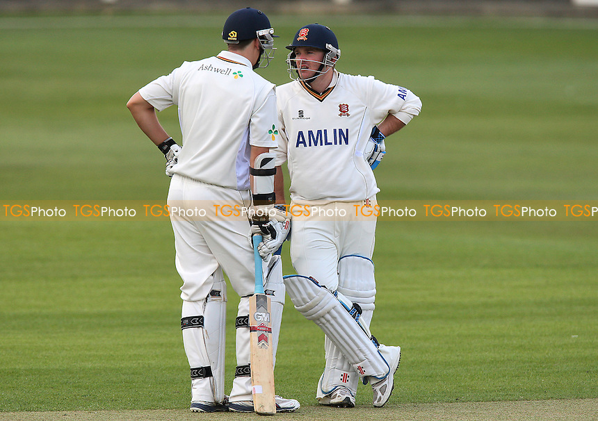 Billy Godleman (L) and John Maunders of Essex chat between overs - Essex CCC vs Leeds/Bradford UCCE - Friendly Match at the Ford County Ground, Chelmsford - 04/04/10 - MANDATORY CREDIT: Gavin Ellis/TGSPHOTO - Self billing applies where appropriate - Tel: 0845 094 6026