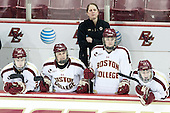 Jackie Young (BC - 25), Erin Kickham (BC - 3), Katie King Crowley (BC - Head Coach), Lauren Wedell (BC - 11), Meghan Grieves (BC - 17) - The Boston College Eagles defeated the Northeastern University Huskies 3-0 on Tuesday, February 11, 2014, to win the 2014 Beanpot championship at Kelley Rink in Conte Forum in Chestnut Hill, Massachusetts.