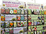 Display of Sarah Raven's flower seed packages on sale, The Walled garden plant nursery, Benhall, Suffolk, England, UK