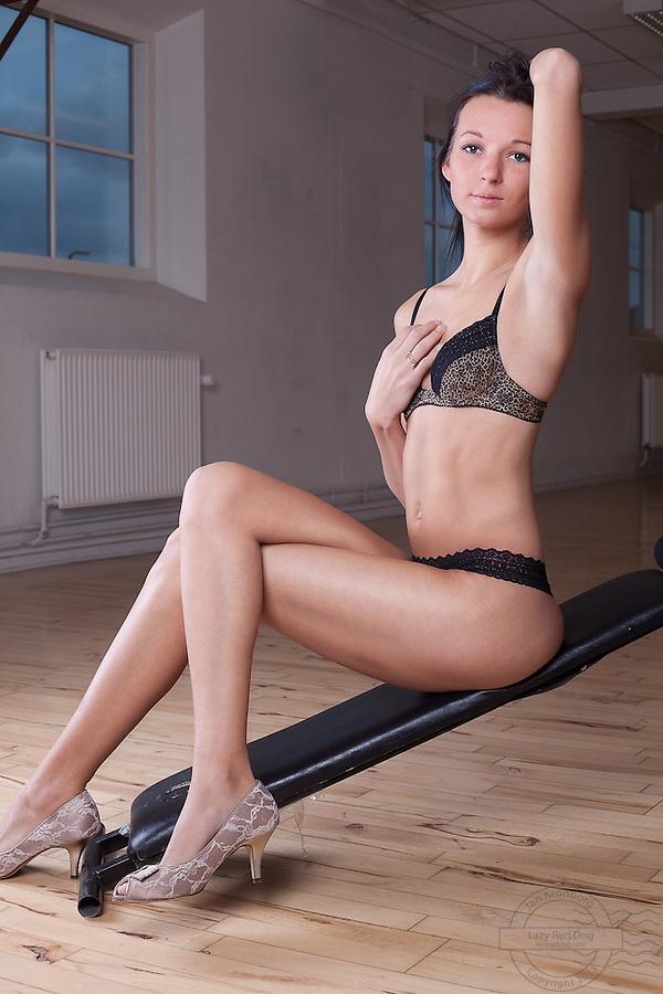 Young danish woman posing in lingerie