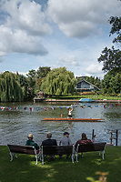 Maidenhead, United Kingdom.  &quot;Single&quot;, with spectators looking on, &quot;Thames Punting Club Regatta&quot;, Bray Reach.<br />  Sunday  06/08/2017<br /> <br /> [Mandatory Credit. Peter SPURRIER Intersport Images}.<br /> <br /> LEICA Q (Typ 116) 28mm  f1.7   1/6400 /sec    100 ISO River Thames, .......... Summer, Sport, Sunny, Bright, Blue Skies, Skilful,