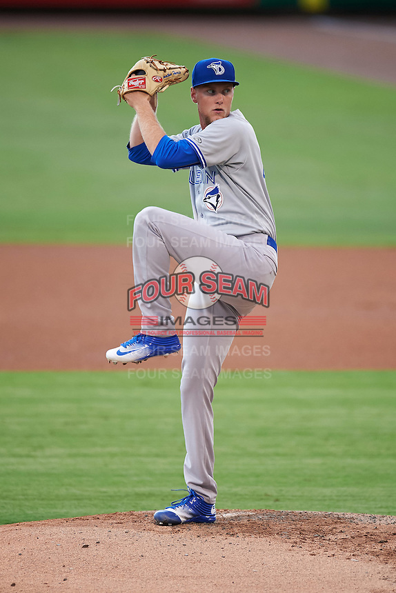 Dunedin Blue Jays starting pitcher Jon Harris (12) during a game against the Clearwater Threshers on August 15, 2016 at Bright House Field in Clearwater, Florida.  Dunedin defeated Clearwater 4-1.  (Mike Janes/Four Seam Images)