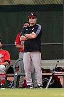 Illinois State Redbirds head coach Bo Durkac during a game against the Georgetown Hoyas on March 7, 2015 at North Charlotte Regional Park in Port Charlotte, Florida.  Illinois State defeated Georgetown 2-1.  (Mike Janes/Four Seam Images)