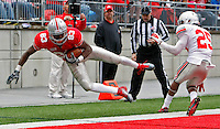 Ohio State Buckeyes wide receiver Donald Senegal (83) dives for a touchdown which was no complete in the second half of their game at Ohio Stadium in Columbus, Ohio on April 21, 2012. (Columbus Dispatch photo by Brooke LaValley)