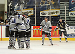 SIOUX FALLS, SD - MAY 8:  The Fargo Force celebrate what will be the game winning goal against the Sioux Falls Stampede in the third period during their game 5 Wednesday night at the Sioux Falls Arena. The Force defeated the Stampede 7-4 to advance to the Clark Cup Finals. (Photo by Dave Eggen/Inertia)