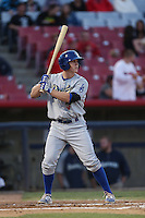 Brandon Dixon of the Rancho Cucamonga Quakes bats against the High Desert Mavericks at Stater Bros. Stadium on April 24, 2014 in Adelanto, California. Rancho Cucamonga defeated High Desert, 7-5. (Larry Goren/Four Seam Images)