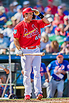 28 February 2019: St. Louis Cardinals first baseman Paul Goldschmidt at bat during a Spring Training game against the New York Mets at Roger Dean Stadium in Jupiter, Florida. The Mets defeated the Cardinals 3-2 in Grapefruit League play. Mandatory Credit: Ed Wolfstein Photo *** RAW (NEF) Image File Available ***
