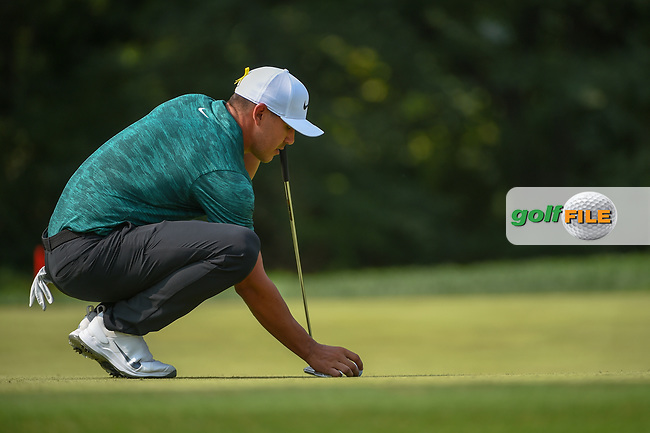 Brooks Koepka (USA) lines up his putt on 9 during 4th round of the 100th PGA Championship at Bellerive Country Club, St. Louis, Missouri. 8/12/2018.<br /> Picture: Golffile | Ken Murray<br /> <br /> All photo usage must carry mandatory copyright credit (© Golffile | Ken Murray)