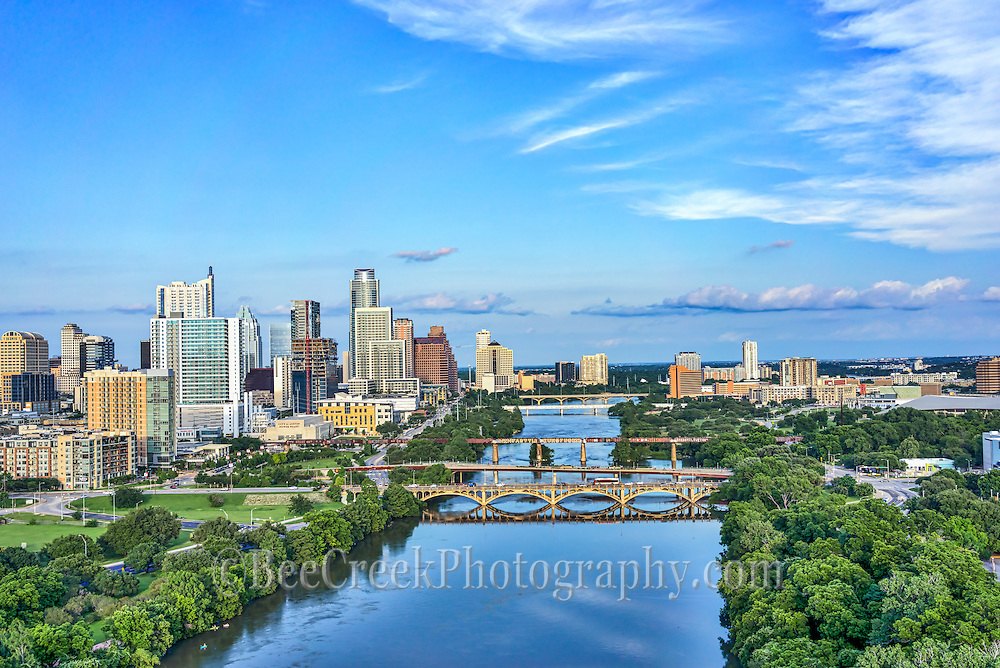 This is an aerial captured over the Lady Bird Lake with the Austin skyline in the back ground.  The cityscape of Austin is a modern urban area with many high rise skyscrapers buildings along the downtown shoreline so it make a nice architecture image.  You can also see the many unique architecture high rise city along with the many bridges across the lake.We were able to capture this high quality aerial image because we use a full frame camera on our drone for out still photographs so we can get the best image which can be printed easlity as a 40 x 60 or larger size without loss of resolution.​