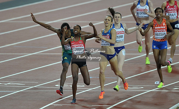Faith Chepngetich KIPYEGON (KEN) crosses the line to win the womens 1500m final. IAAF world athletics championships. London Olympic stadium. Queen Elizabeth Olympic park. Stratford. London. UK. 07/08/2017. ~ MANDATORY CREDIT Garry Bowden/SIPPA - NO UNAUTHORISED USE - +44 7837 394578