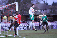 Nnamdi Nwachuku of Hornchurch goes close - AFC Hornchurch vs Bognor Regis Town - Ryman League Premier Division Football at The Stadium, Bridge Avenue, Upminster - 07/02/15 - MANDATORY CREDIT: Mark Hodsman/TGSPHOTO - Self billing applies where appropriate - contact@tgsphoto.co.uk - NO UNPAID USE