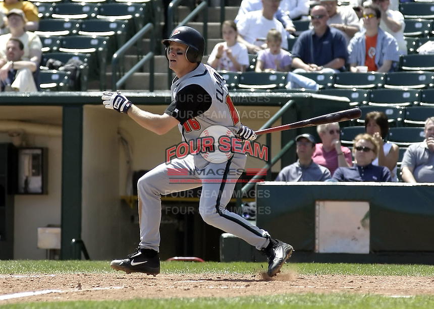 April 29, 2004:  Chris Clapinski of the Buffalo Bisons, International League (AAA) affiliate of the Cleveland Indians, during a game at Frontier Field in Rochester, NY.  Photo by:  Mike Janes/Four Seam Images