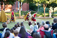 Classical Week 2016 Phaedra (Roman tragedy by Seneca) performance at the Zacharias Village Courtyard, presented by The Shakouls Honors College: Hippolytus and huntsmen.<br />